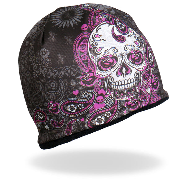 Hot Leathers KHC1030 Sublimated Sugar Paisley 2 Beanie - Hot Leathers Hats and Caps