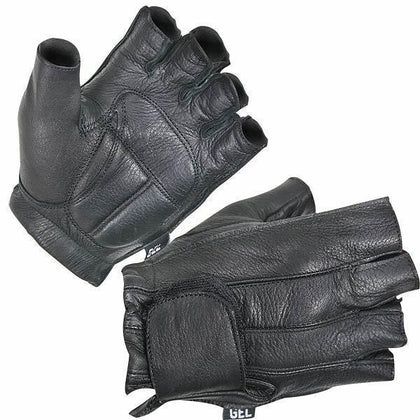 Xelement XG850 Men's Black Leather Deerskin Fingerless Motorcycle Gloves - Xelement Mens Gloves