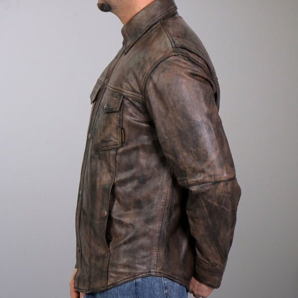 Hot Leathers LCS1004 Mens Distressed Brown Leather Concealed Carry Shirt - Hot Leather Mens Leather Shirts