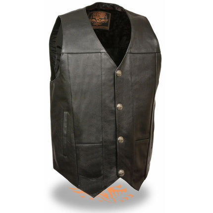 Milwaukee Leather Men's Plain Side Leather Vest with Buffalo Snaps