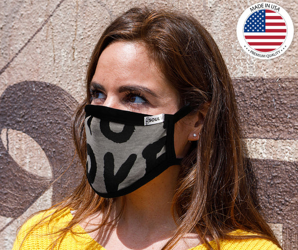 Air Soul MP7923FM USA Made 'Love' Grey and Black Protective Face Mask with Optional Filter Pocket - Air Soul Face Masks