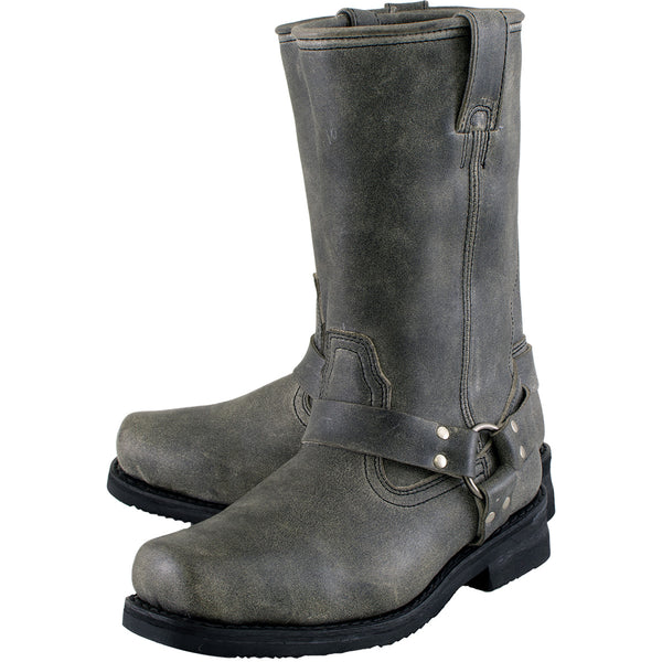 Xelement LU1605 Men's 13in Stone Wash Black Leather Harness Motorcycle Boots - N/A