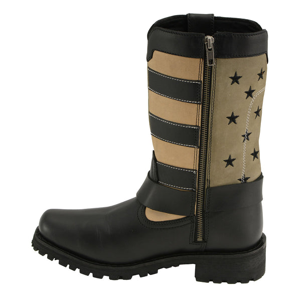 Milwaukee Leather MBL9363 Women's 'Stars and Stripes' Black and Tan Harness Boots - Milwaukee Leather Women's Leather Boots