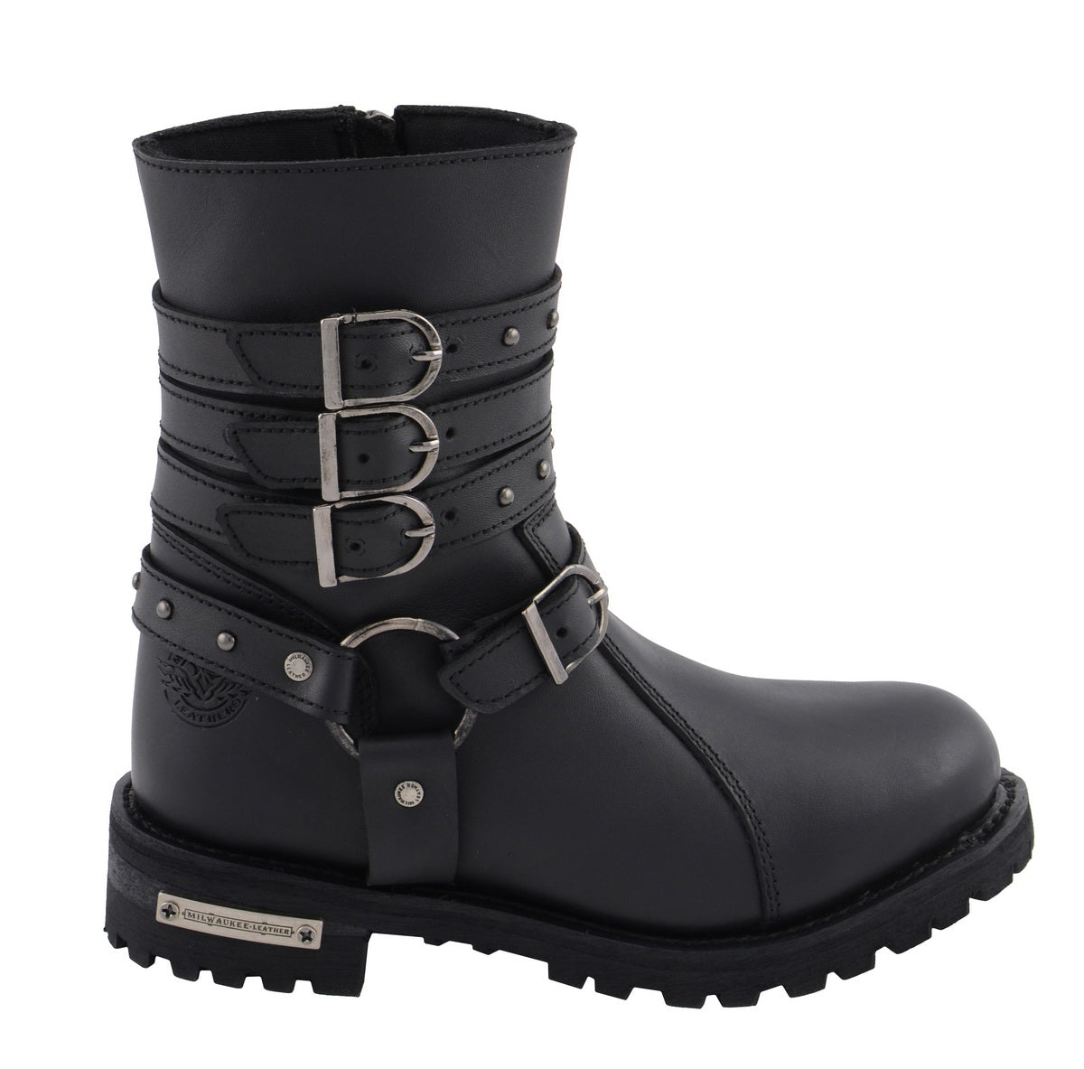 Black, Size 5 MBL9399-BLACK-5 Milwaukee Leather Womens Harness Boot