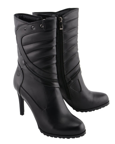 8 Milwaukee Performance MBL9400 Womens Short Black Round Toe Boots with Inside Zipper