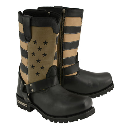 Milwaukee Leather MBM9045 Men's Black with Tan Stars and Stripes Harness Motorcycle Boot - Milwaukee Leather Mens Boots