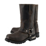Milwaukee Leather MBM9062 Mens Classic 11 Inch Dark Brown Harness Square Toe Boots - Milwaukee Leather Mens Boots