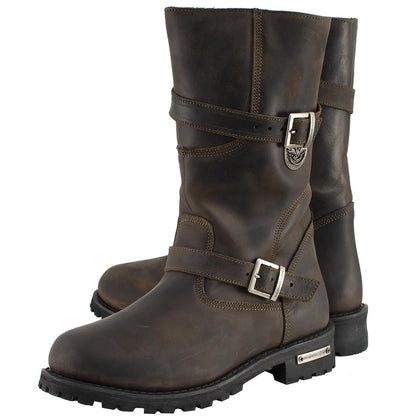 Milwaukee Leather MBM9063 Men's Distressed Brown Classic Engineer Boots - Milwaukee Leather Mens Leather Boots