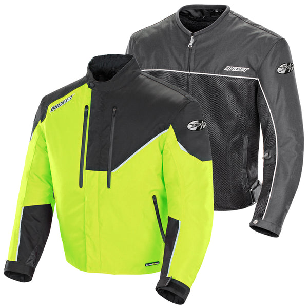 Joe Rocket Men's Alter Ego 4.1 HiViz and Black Waterproof Extreme Condition Textile Armor Jacket