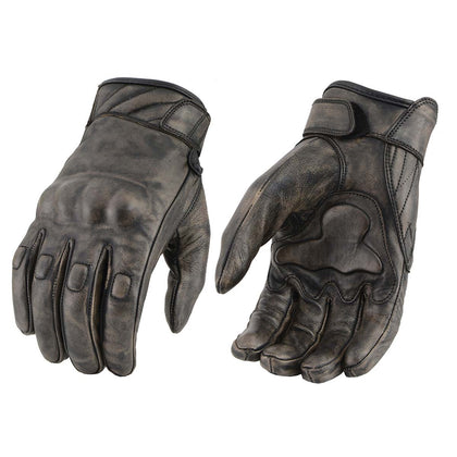 Milwaukee Leather MG7514 Men's Distressed Brown Leather Gloves with Gel Palm and Knuckle Protectors