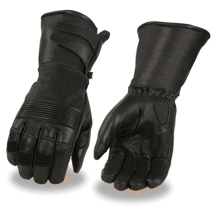 Milwaukee Leather MG7550 Mens  Black Thermal Lined Gauntlet Gloves with Extra Long Cuff