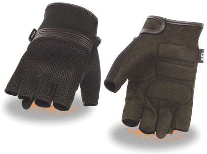 Milwaukee Leather MG7590 Men's Black Mesh Top Fingerless Gloves with Gel Palm