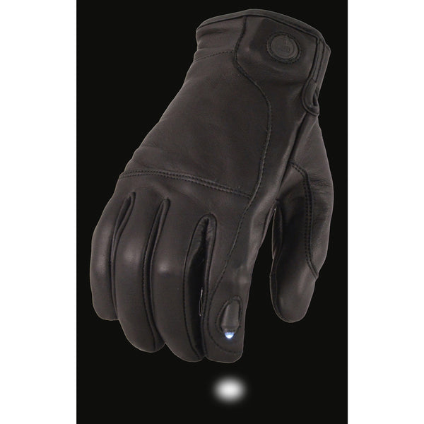Milwaukee Leather MG7599 Men's Black Leather Gloves with LED Finger Lights