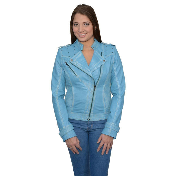 Milwaukee Leather SFL2840 Aqua Women's Asymmetrical Studded Sheepskin Leather Jacket - N/A