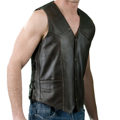 Genuine Leather ML1332RT Men's Retro Brown 'Side Laced' Leather Vest - Genuine Leather Mens Leather Vests