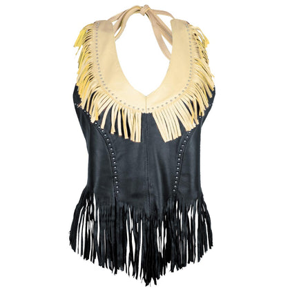 Genuine Leather ML1898 Ladies 'Fringed' Two Tone Black and Beige Leather Halter Top - Genuine Leather Womens Leather Halter Tops