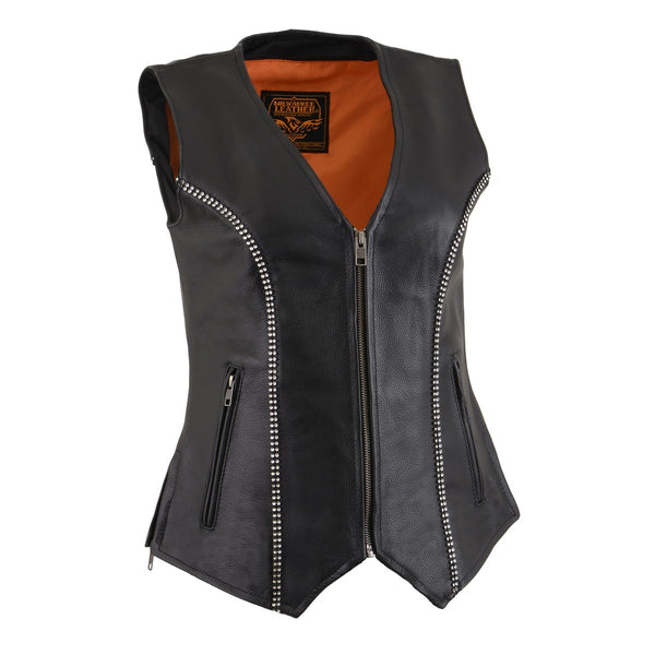 Milwaukee Leather MLL4502 Ladies Leather V Neck Zippered Vest with Rhinestone Bling Detail - Milwaukee Leather Womens Leather Vests