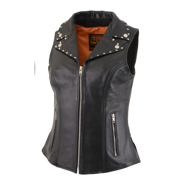 Milwaukee Leather MLL4503 Ladies Black Leather Vest with Riveted Lapel Collar - Milwaukee Leather Womens Leather Vests