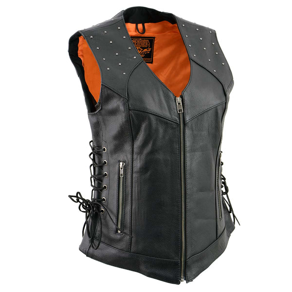 Milwaukee Leather MLL4504 Women's 'Riveted' Black Leather Vest with Side Laces - Milwaukee Leather Womens Leather Vests