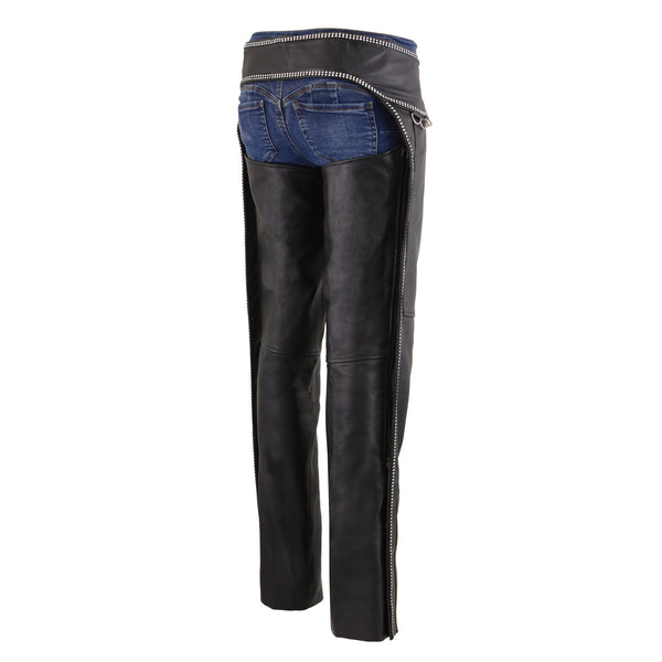 Milwaukee Leather MLL6502 Ladies Black Classic Leather Chaps with Rhinestones Bling - Milwaukee Leather Womens Leather Chaps