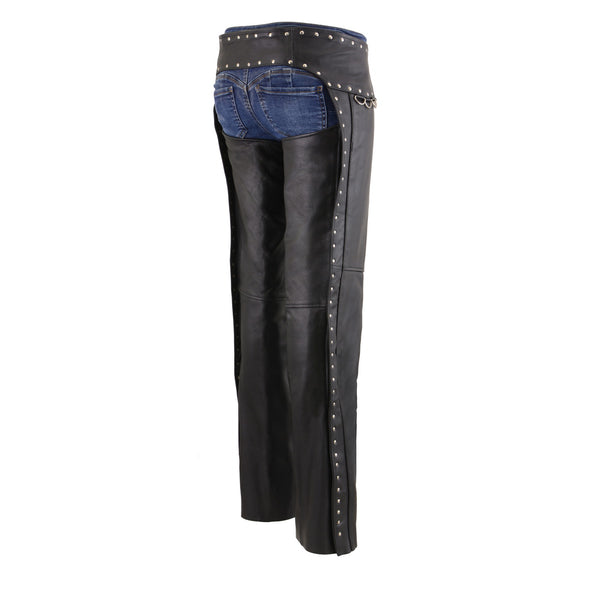 Milwaukee Leather MLL6503 Ladies Black Classic Leather Chaps with Rivet Design - Milwaukee Leather Womens Leather Chaps