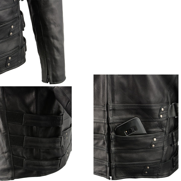 Milwaukee Leather MLM1505 Men's 'Assault Racer' Black Leather Jacket with Triple Side Straps and Gun Pockets - Milwaukee Leather Mens Leather Jackets