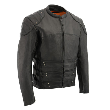 Milwaukee Leather MLM1505 Men's Assault Racer Black Leather Jacket with Triple Side Straps and Gun Pockets - Milwaukee Leather Mens Jackets