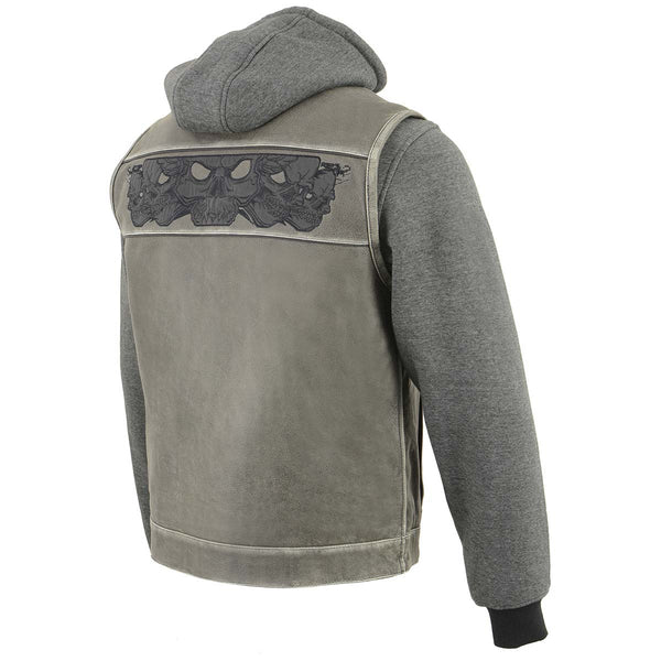 Milwaukee Leather MLM3562 Men's '2 in 1' Distressed Grey Leather Vest with Reflective Skulls