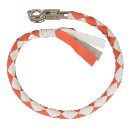 Milwaukee Leather MP7900 White and Orange Get Back Motorcycle Whip - Milwaukee Leather Whips
