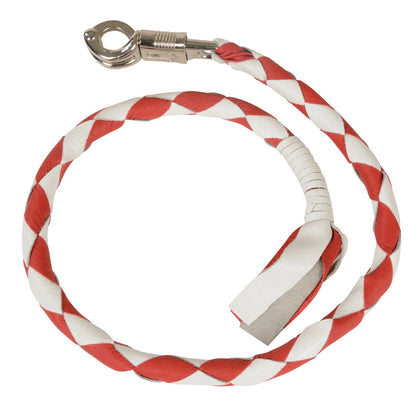Milwaukee Leather MP7900 White and Red Get Back Motorcycle Whip - Milwaukee Leather Whips
