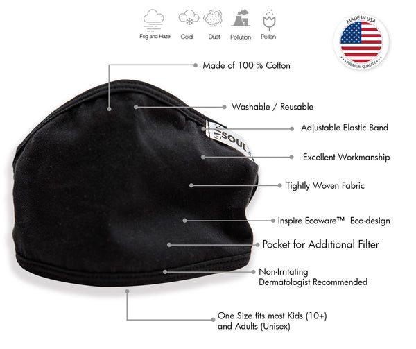 Air Soul MP7923FM USA Made Black Protective Face Mask with Optional Filter Pocket