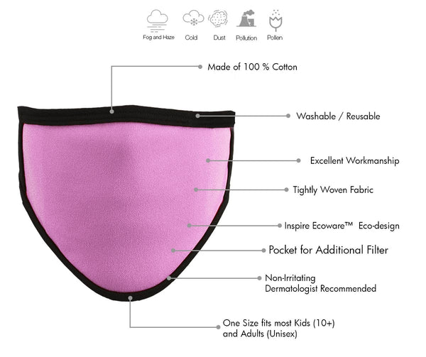 Milwaukee MP7924FM Ladies 'Black and PInk' 100 % Cotton Protective Face Mask with Optional Filter Pocket
