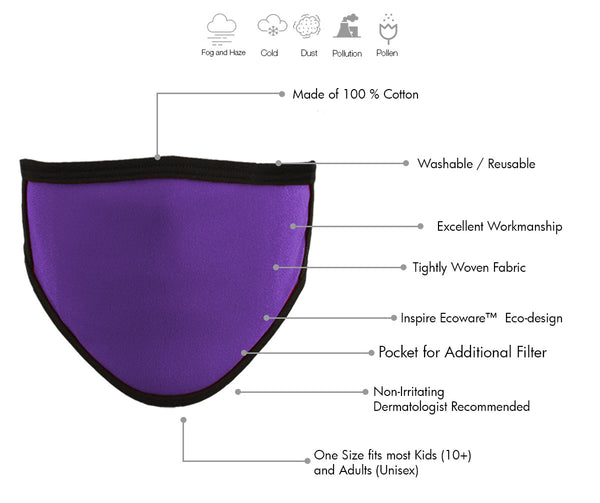 Milwaukee MP7924FM Ladies 'Black and Purple' 100 % Cotton Protective Face Mask with Optional Filter Pocket - Milwaukee Face Masks