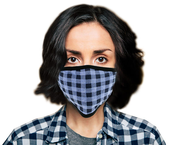 Milwaukee (Multi-Pack) MP7924FM 'Blue Checkered' 100 % Cotton Protective Face Mask with Optional Filter Pocket - Milwaukee Face Masks