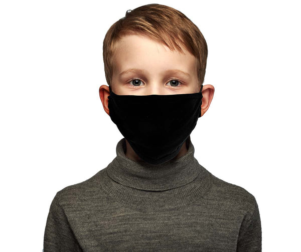 Milwaukee MP7925FM Kids 'Solid Black' 100 % Cotton Protective Face Mask with Optional Filter Pocket - Milwaukee Face Masks