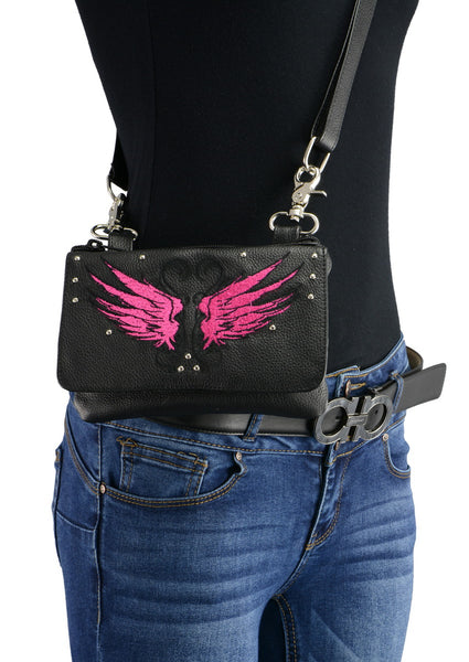Milwaukee Leather MP8850 Ladies Black and Pink Leather Multi Pocket Belt Bag with Gun Holster - Milwaukee Leather Accessories