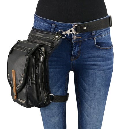 Milwaukee Leather MP8899 Conceal and Carry Black Leather Thigh Bag with Waist Belt (9.5X6.5X2) - Milwaukee Leather Accessories