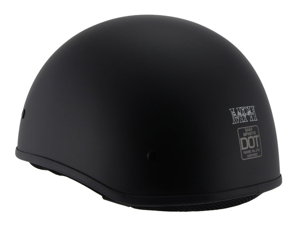 Milwaukee Performance Helmets MPH9710DOT 'Bare Bones' Matte Black Half Helmet - Milwaukee Performance Half Helmets