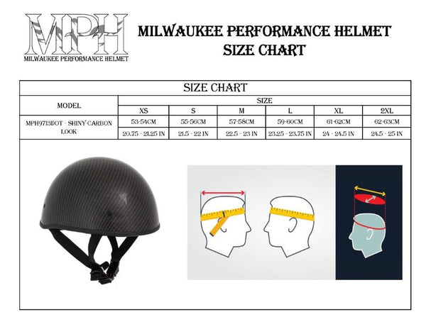 Milwaukee Performance Helmets MPH9713DOT Glossy Black DOT Half Helmet with Carbon Fiber Look - Milwaukee Performance Half Helmets