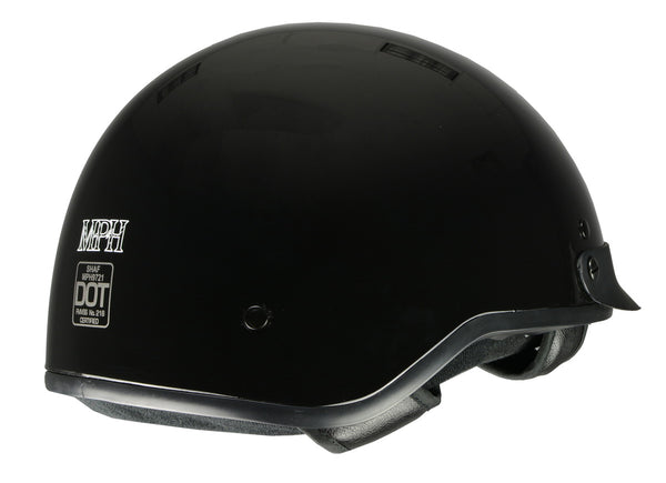 Milwaukee Performance Helmets MPH9721DOT 'Momentum' Glossy Black Half Helmet - Milwaukee Performance Half Helmets