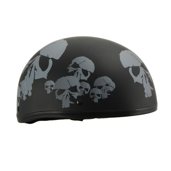 Milwaukee Performance Helmets MPH9775DOT Americas Smallest Matte Black Half Helmet with Skeleton Head Graphics - Milwaukee Performance Half Helmets