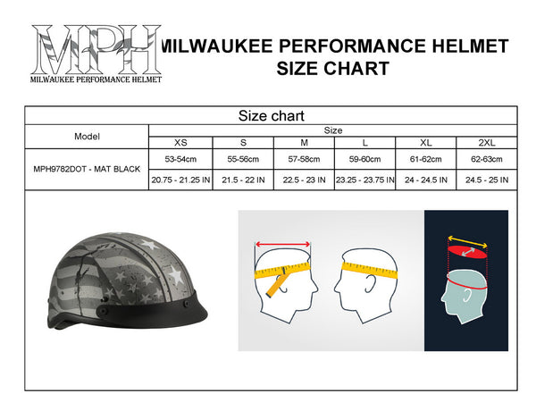Milwaukee Performance Helmets MPH9871N Novelty 'Vintage Grey Stars and Stripes' Silver Grey Half Helmet - Milwaukee Performance Novelty Helmets
