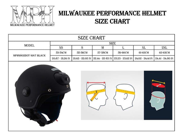 Milwaukee Performance Helmets MPH9802DOT 'Vision' Matte Black 3/4 Open Face Helmet with HD Camera and Bluetooth System - Milwaukee Performance 3/4 Helmets