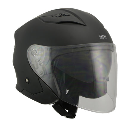 Milwaukee Performance Helmet MPH9805DOT Open Face 3/4 Matte Black Half Helmet with Sun Visor - Milwaukee Performance Helmets