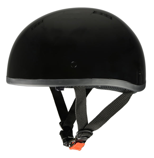 Milwaukee Performance Helmets MPH9851N Novelty 'Classic' Glossy Black Half Helmet with Drop Down Visor - Milwaukee Performance Novelty Helmets