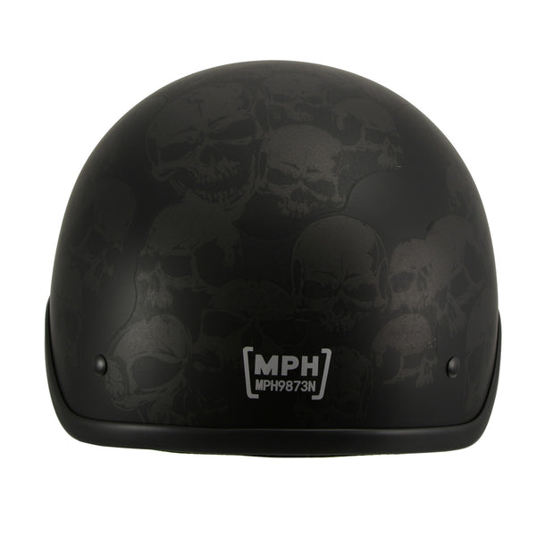 Milwaukee Performance Helmets MPH9873N Novelty 'Gathering of Skulls' Matte Black Half Helmet - Milwaukee Performance Novelty Helmets