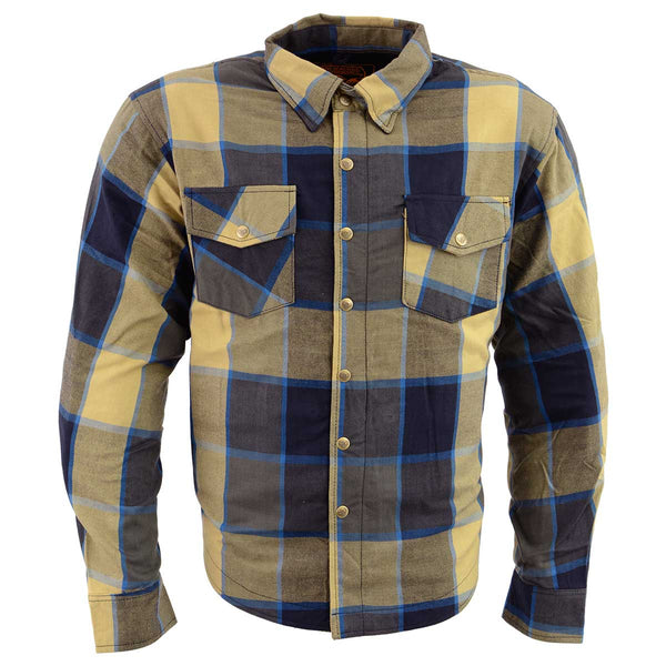Milwaukee Performance MPM1639 Men's Beige, Black and Blue Armored Long Sleeve Flannel Shirt with Kevlar - Milwaukee Performance Mens Armored Shirts
