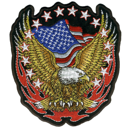 "Hot Leathers PPA1427  Eagle Flag and Stars 11"" x 12"" Patch - Hot Leathers Patches"