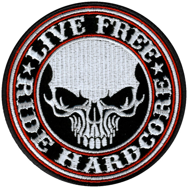 "Hot Leathers PPA5370 Live Free Ride Hardcore Skull Patch 4"" x 4"" - Hot Leathers Patches"