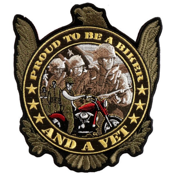 "Hot Leathers PPA5500 Proud to be a Biker and a Vet Patch 5"" x 6"" - Hot Leathers Patches"
